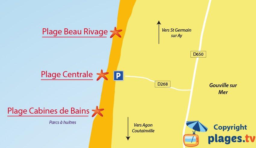 Plan des plages de Gouville sur Mer (50)
