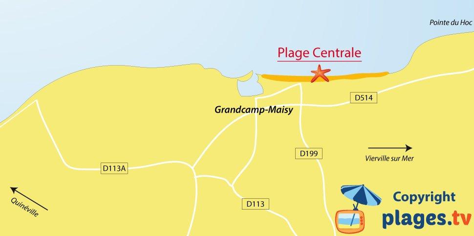Plan des plages de Grandcamp Maisy en Normandie