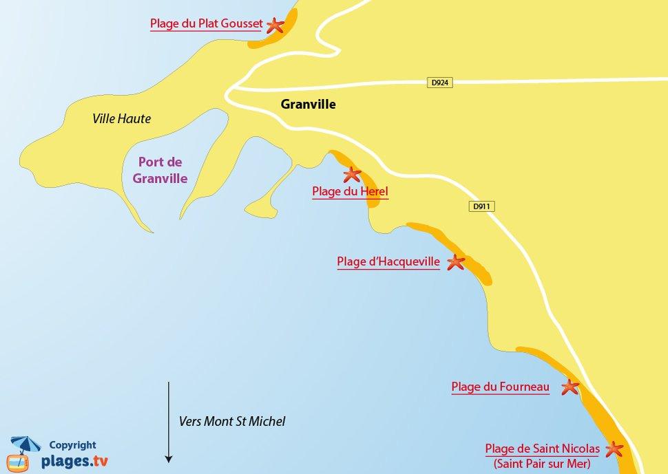 Plan des plages de Granville dans la Manche