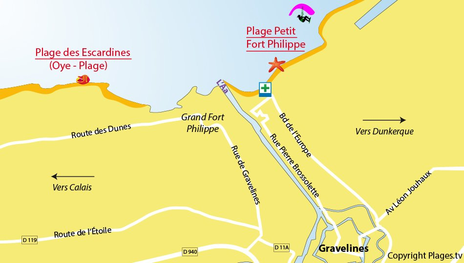 Plan des plages de Gravelines dans le Nord