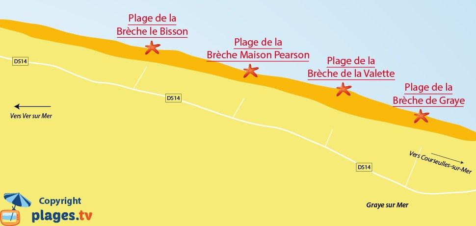 Plan des plages de Graye sur Mer en Normandie