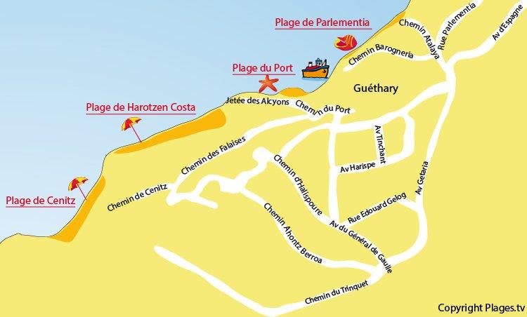 Plan des plages de Guéthary