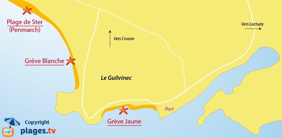 Plan des plages de Guilvinec en Bretagne