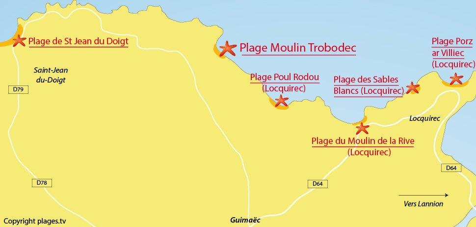 Plan des plages de Guimaec en Bretagne