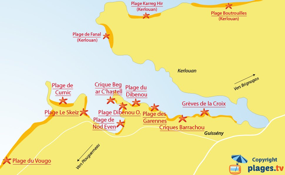 Plan des plages de Guissény en Bretagne