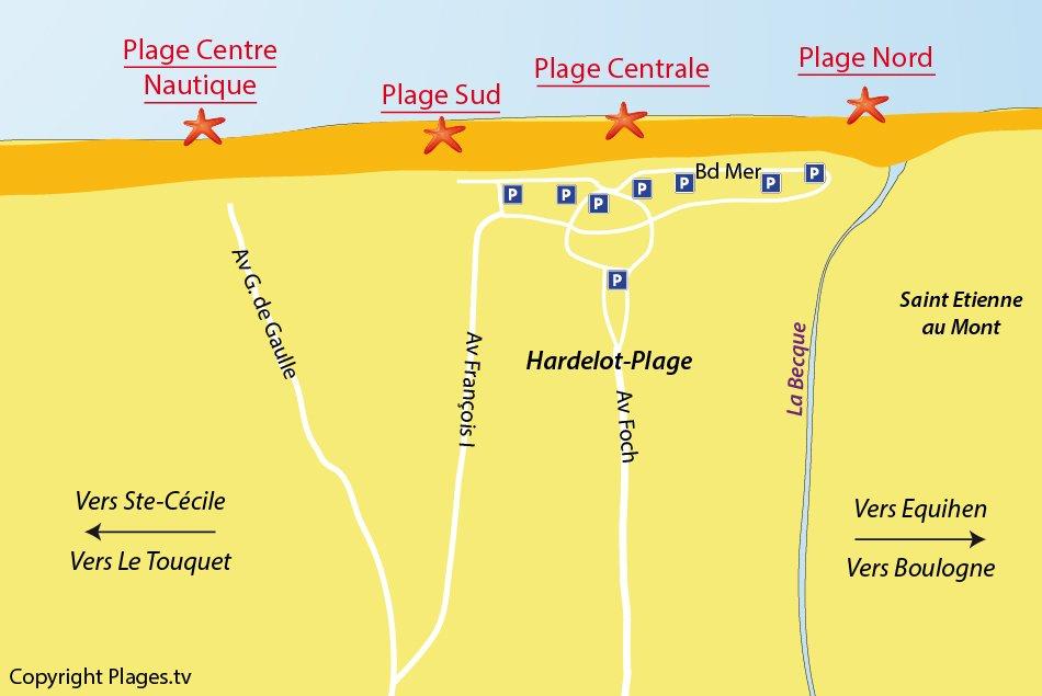 Plan des plages à Hardelot