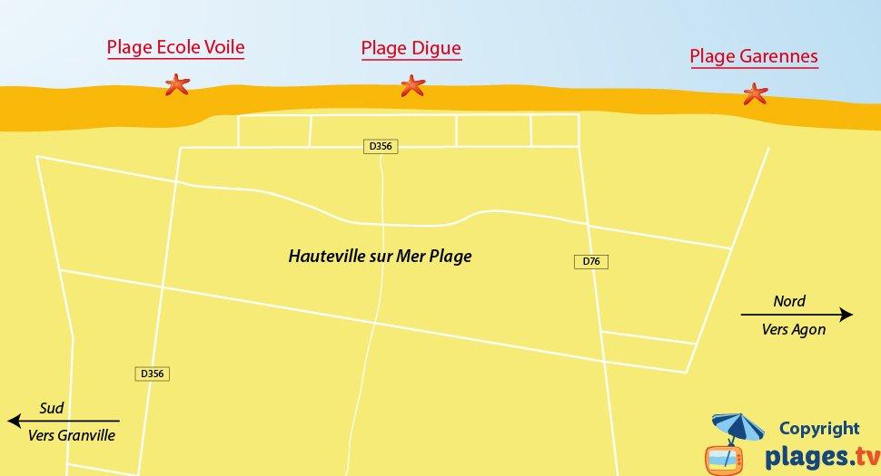 Plan des plages à Hauteville sur Mer