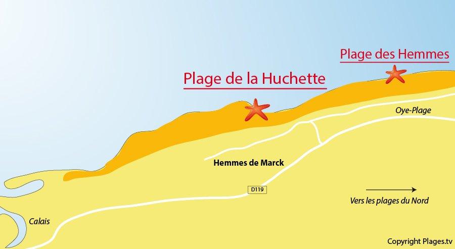 Plan des plages à Hemmes de Marck