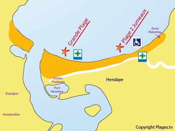 Plan des plages à Hendaye - Cote Basque