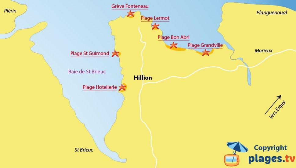 Plan des plages à Hillion