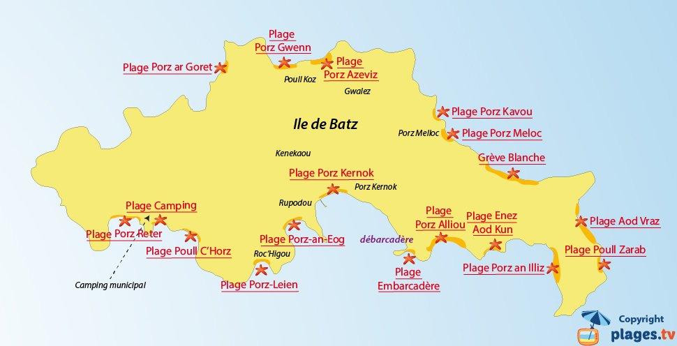 Plan des plages de l'ile de Batz en Bretagne