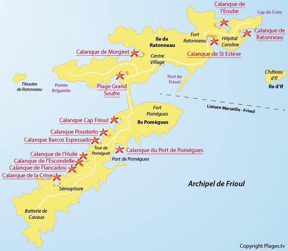 Plan des plages sur les iles de Frioul - Marseille