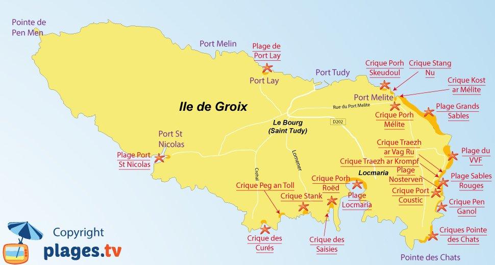 Plan des plages de l'ile de Groix en Bretagne