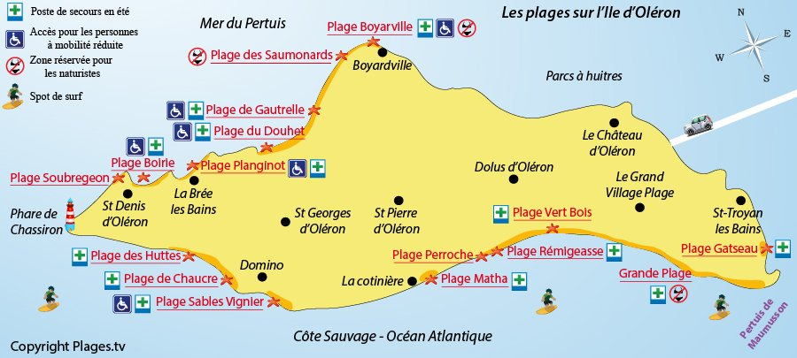 Map of Oléron beaches in France