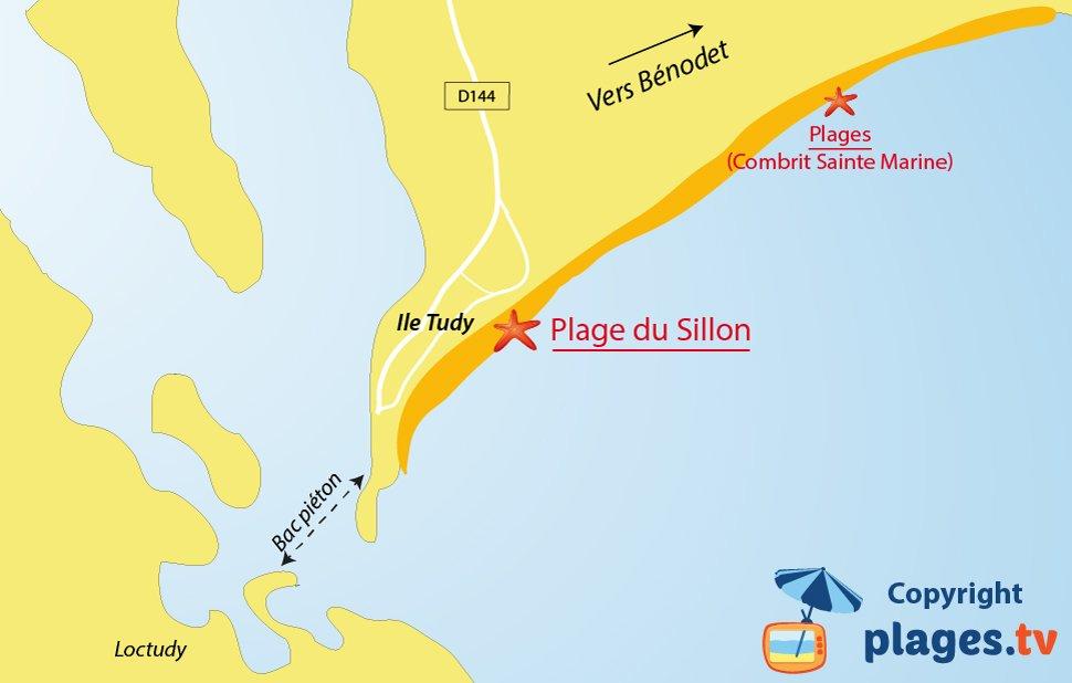 Plan des plages de l'ile Tudy en Bretagne