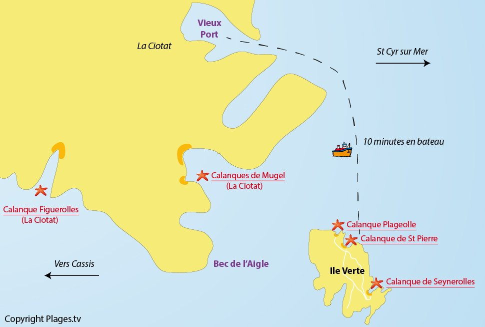 Plan des plages et des calanques de l'ile verte - La Ciotat
