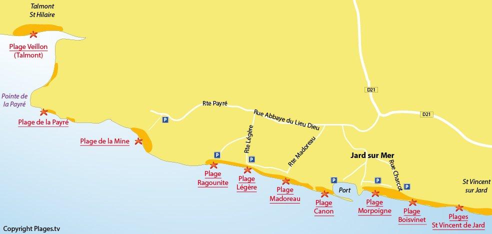 Plan des plages de Jard sur Mer - Vendée