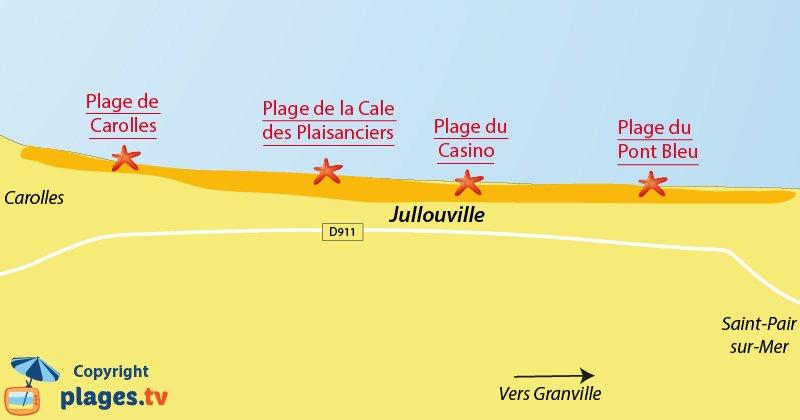 Plan des plages de Jullouville dans la Manche