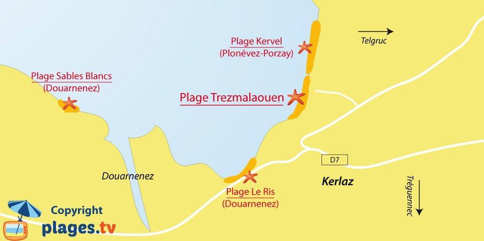 Plan des plages de Kerlaz en Bretagne