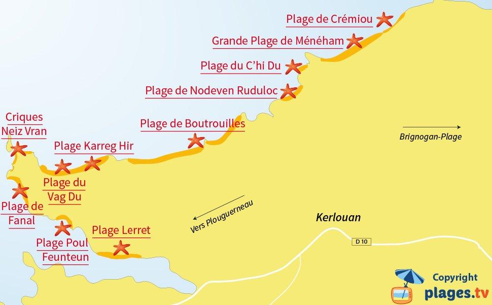 Plan des plages de Kerlouan en Bretagne