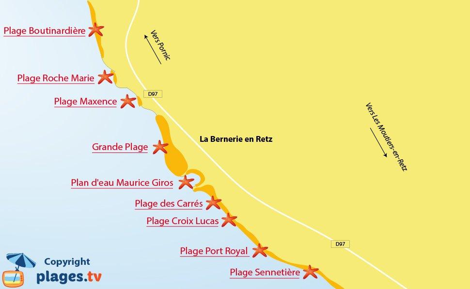 Plan des plages de La Bernerie en Retz en Loire Atlantique