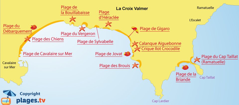 Map of La Croix Valmer beaches in South of France