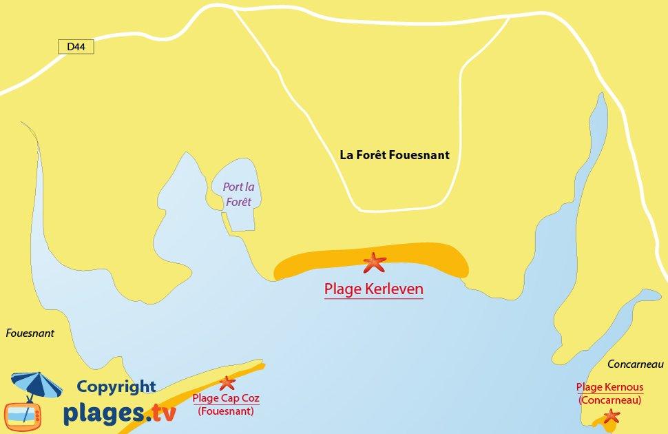 Plan des plages de La Forêt Fouesnant en Bretagne