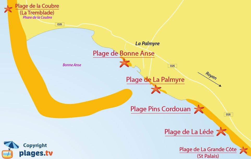 Plan des plages de La Palmyre en Charente Maritime