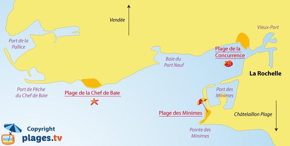 Carte des plages de la Rochelle
