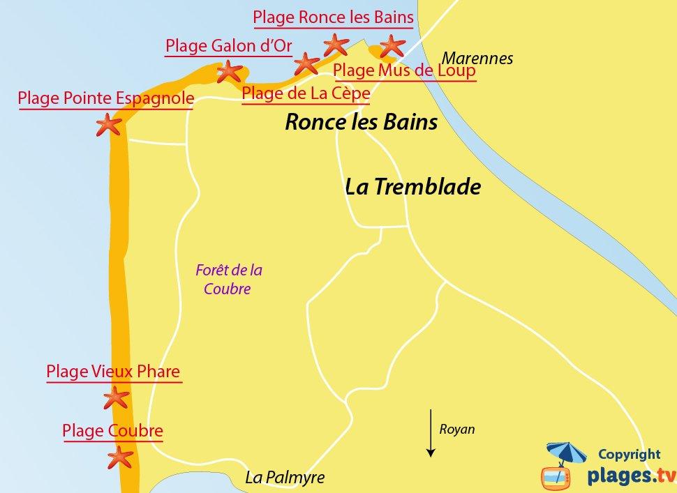 Plan des plages de La Tremblade et de Ronce les Bains