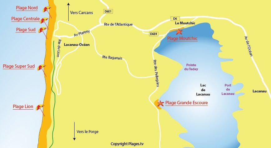 Plan des plages à Lacanau Océan - Gironde
