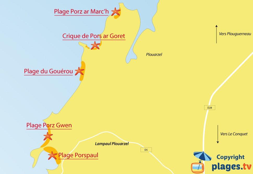 Plan des plages de Lampaul Plouarzel en Bretagne