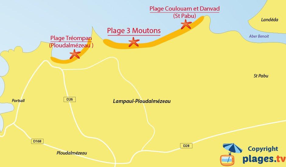 Plan des plages de Lampaul Ploudalmézeau  en Bretagne