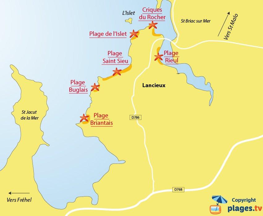 Plan des plages de Lancieux