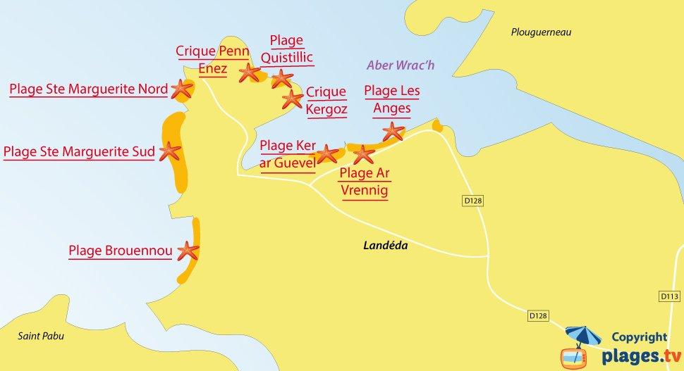 Plan des plages de Landéda en Bretagne