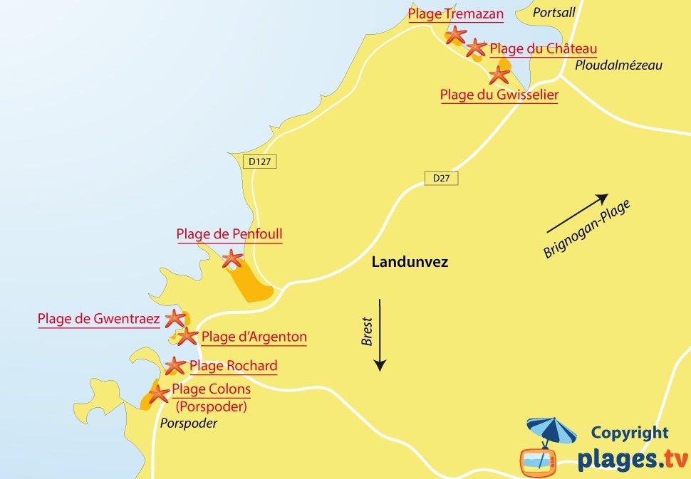 Plan des plages de Landunvez en Bretagne