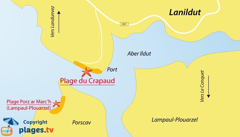 Plan des plages de Lanildut en Bretagne