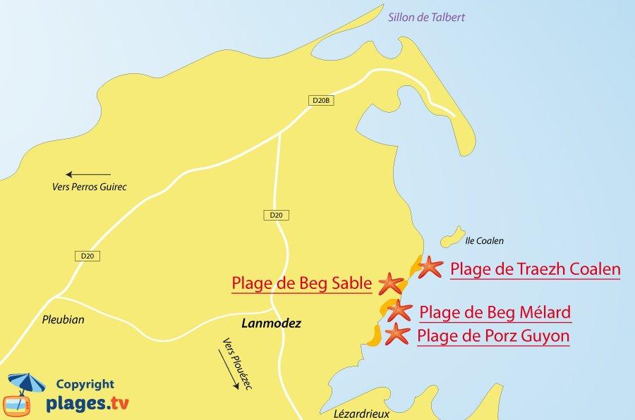 Plan des plages de Lanmodez en Bretagne