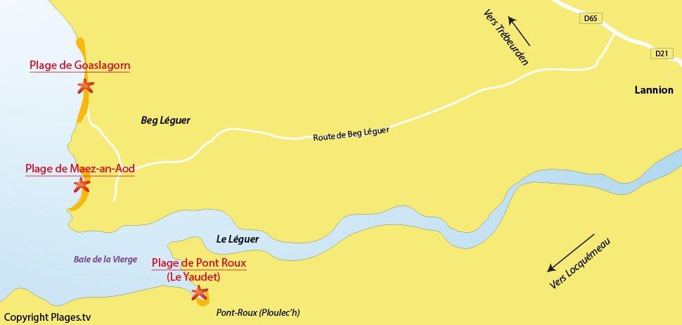 Plan des plages de Lannion