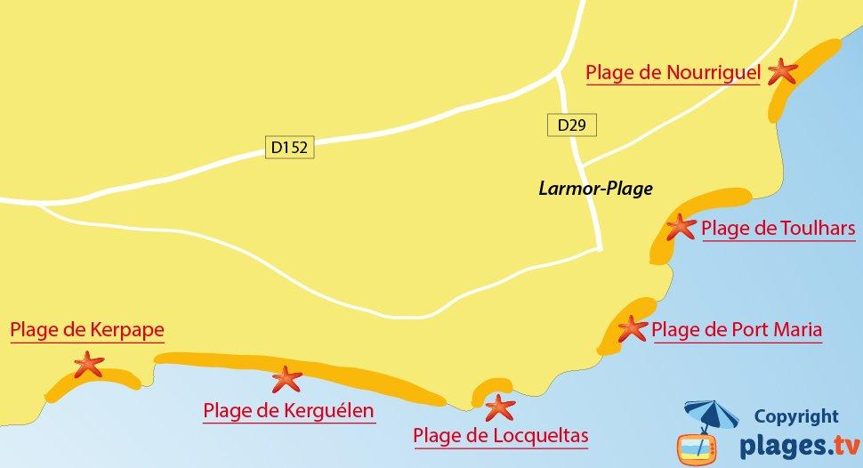 Plan des plages de Larmor-Plage en Bretagne