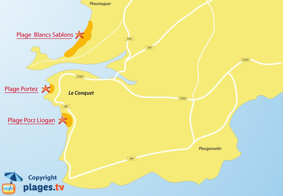 Plan des plages du Conquet en Bretagne