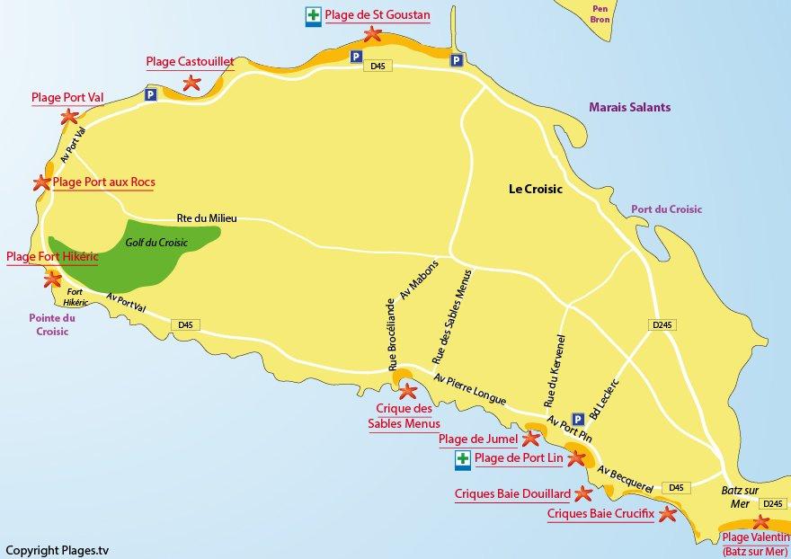Plan des plages du Croisic