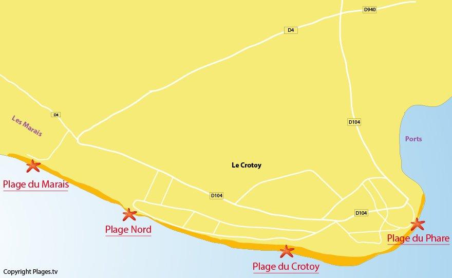 Plan des plages du Crotoy - Picardie