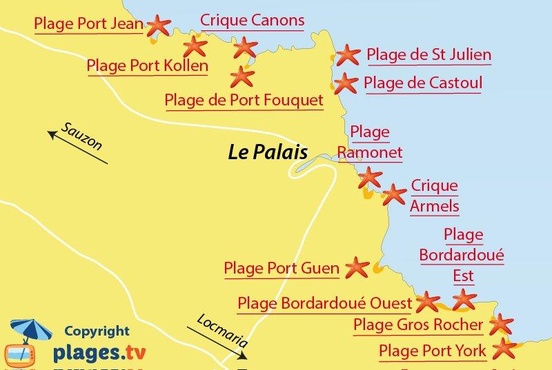 Plan des plages du Palais à Belle Ile en Mer