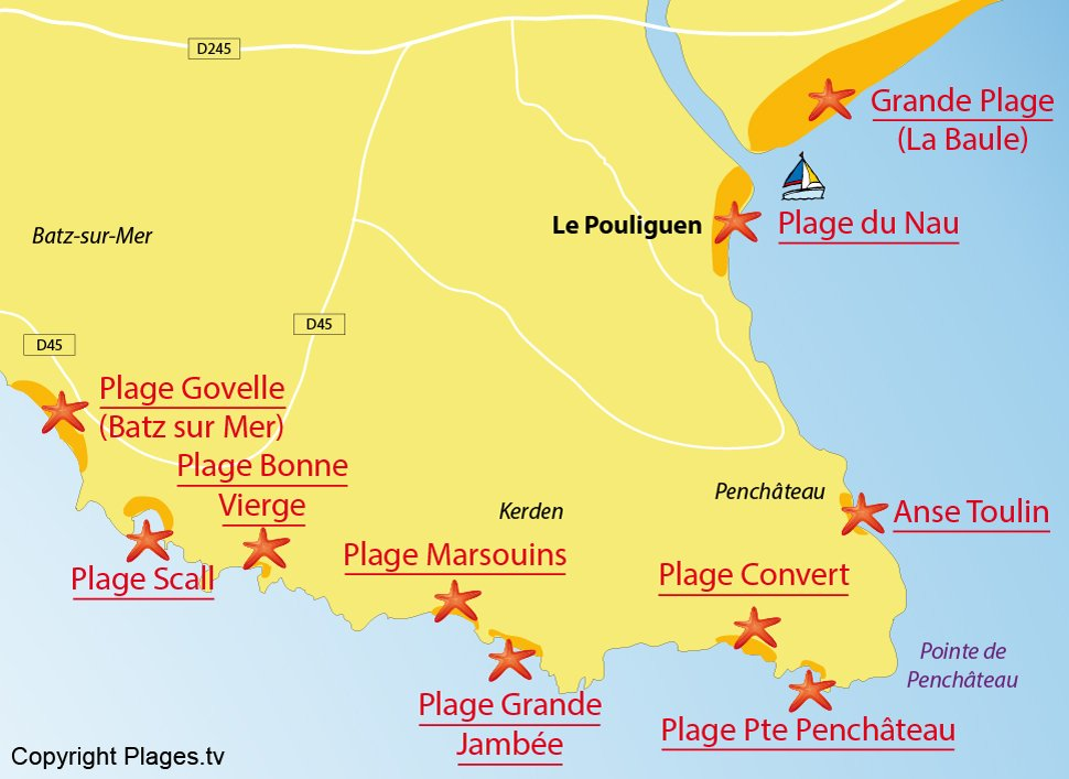 Plan des plages de Le Pouliguen