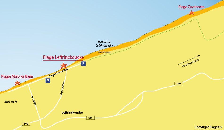 Plan des plages de Leffrinckoucke dans le nord de la France