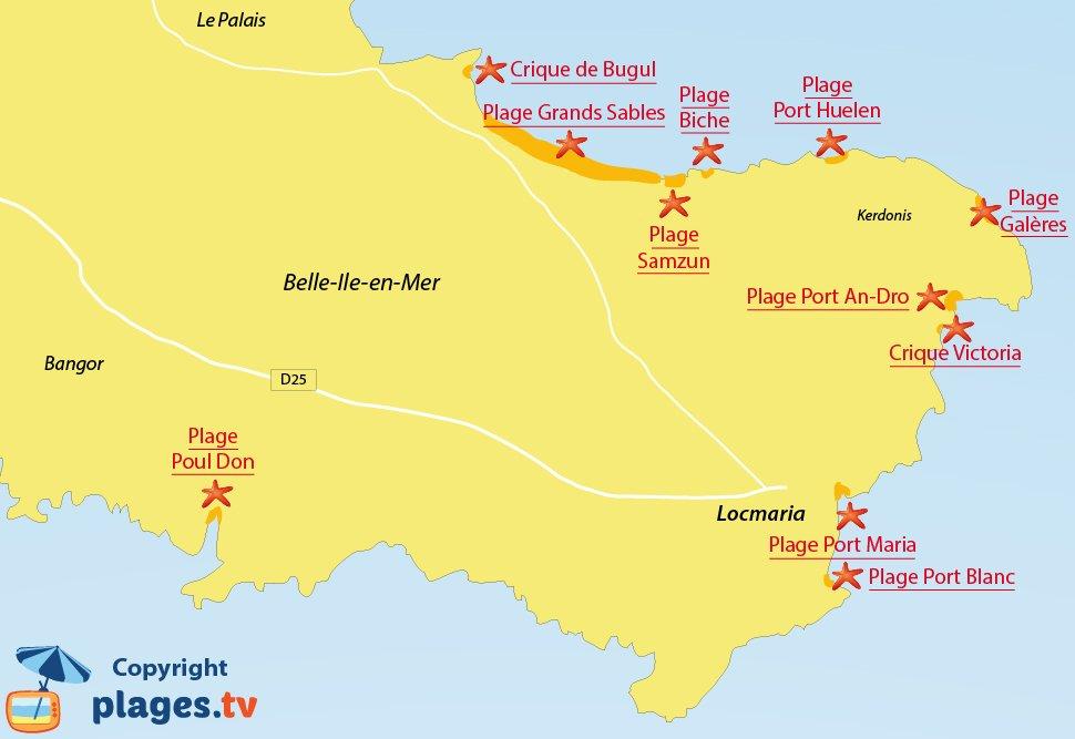 Plan des plages de Locmaria à Belle Ile en Mer