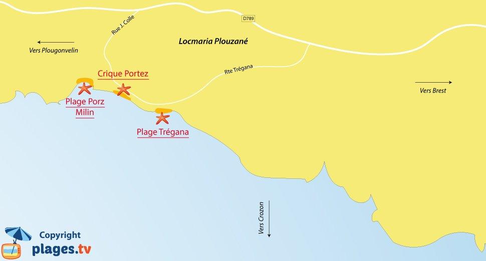 Plan des plages de Locmaria-Plouzané en Bretagne