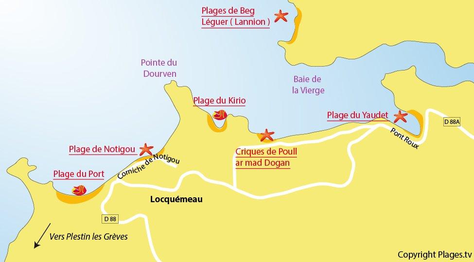 Plan des plages de Locquémeau en Bretagne