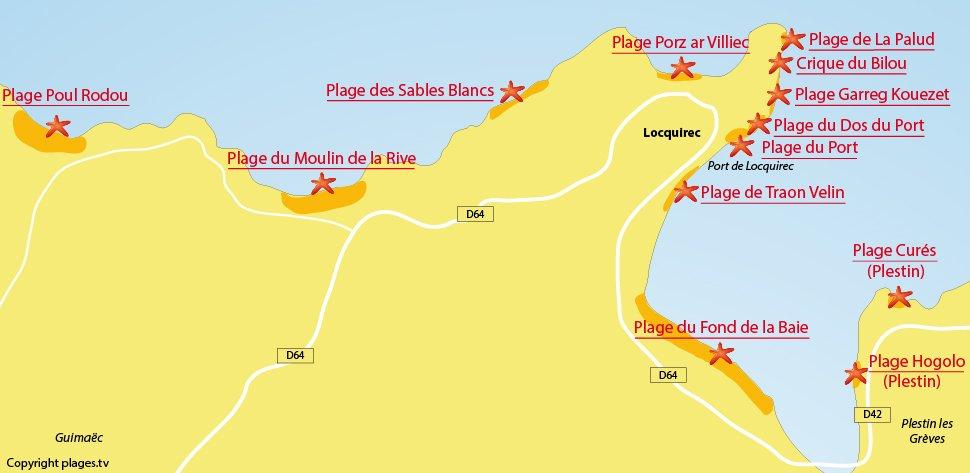 Plan des plages de Locquirec en Bretagne